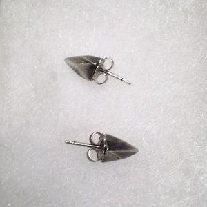 Faceted sterling silver spike stud earrings